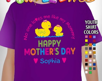 Happy Mother's Day T-Shirt - No One Loves me Like my Mommy - Girls - Youth - Personalized with Name