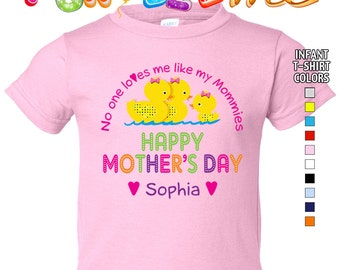 Happy Mother's Day T-Shirt - No One Loves me Like my Mommies - Girls - infant - Personalized with Name (Gay / Lesbian / 2 Mommies)