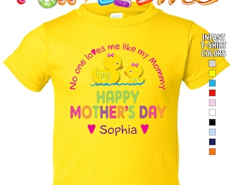 Happy Mother's Day T-Shirt - No One Loves me Like my Mommy - Girls - infant - Personalized with Name