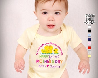 Happy First Mother's Day - No One Loves me Like my Mommies - Bodysuit - Girls Personalized w/Name & Year (Gay / Lesbian / 2 Mommies)