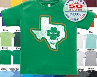 Texas Home State Irish Shamrock T-Shirt - Boys / Girls / Infant / Toddler / Youth sizes