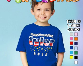 Happy Memorial Day - T-Shirt - Boys - Toddler - Personalized with Name and Year