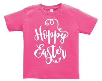 Hoppy Easter White words Design. Easter outfit. / Boys / Girls / Infant / Toddler / Youth sizes