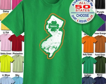 New Jersey Home State Irish Shamrock  T-Shirt - Adult Unisex - We carry sizes S - 5XL in 30 Colors!
