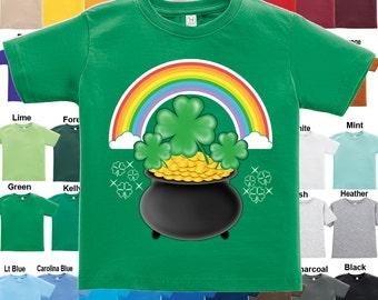St. Patrick's Day - Pot of Gold rainbow shamrock T-Shirt - Boys / Girls / Infant / Toddler / Youth sizes