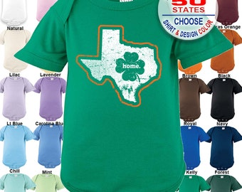 Texas Home State Irish Shamrock Bodysuit - Boys / Girls / Irish / St. Patty's Day