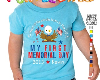 My First Memorial Day - Cutest Little Birdie Born in the USA - T-Shirt - Boys - infant - Personalized with Name & Year