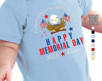 Happy Memorial Day - Cutest Little Birdie Born in the USA - Bodysuit - Boys - Personalized with Name and Year