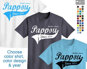 World's Finest Pappou - Personalized w/ Year - Men's T-Shirt Great gift! (Greek Grandpa) We carry sizes S - 5XL in 30 Colors!