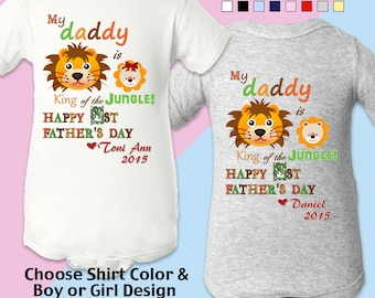 Happy First (1st) Father's Day: My Daddy is King of the Jungle - Personalized with Name & Year. Bodysuit / Boys / Girls / New Dad
