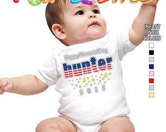 Happy Memorial Day - Bodysuit - Boys - Personalized with Name and Year