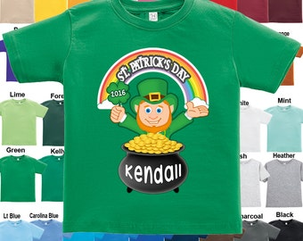 St. Patrick's Day - Leprechaun Shamrock Pot of Gold T-Shirt - Personalized w/ Name & Year / Boys / Girls / Infant / Toddler / Youth sizes