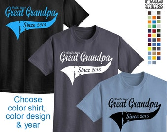 World's Finest Great Grandpa - Personalized w/ Year - Men's T-Shirt Great gift or New Great Grandpa! We carry sizes S - 5XL in 35 Colors!