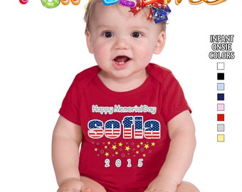 Happy Memorial Day - Bodysuit - Girls - Personalized with Name and Year