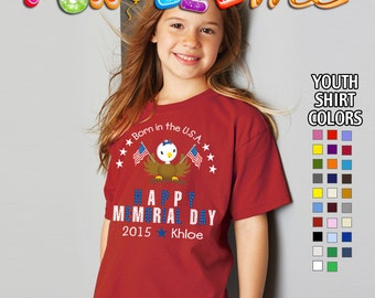 Happy Memorial Day - Born in the USA - T-Shirt - Girls - Youth - Personalized with Name and Year