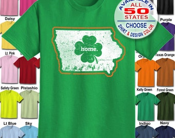 Iowa Home State Irish Shamrock  T-Shirt - Adult Unisex - We carry sizes S - 5XL in 30 Colors!