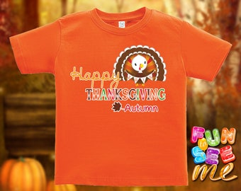 Happy Thanksgiving - Personalized with Name - Tee / Boys / Girls / Infant / Toddler / Youth sizes