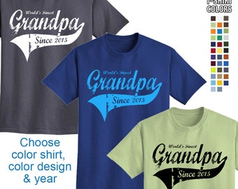 World's Finest Grandpa - Personalized w/ Year - Men's T-Shirt Great gift for a New Grandpa! We carry sizes S - 5XL in 35 Colors!