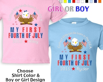 My First Fourth of July - Cutest Little Birdie Born in the USA - T-Shirt - Girls - Boys - infant - Personalized w/ Name & Year