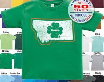 Montana Home State Irish Shamrock T-Shirt - Boys / Girls / Infant / Toddler / Youth sizes