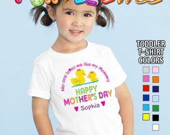 Happy Mother's Day T-Shirt - No One Loves me Like my Mommy - Girls - Toddler - Personalized with Name