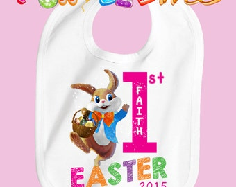 Baby's First Easter Bib - Girls - Personalized with Name & Year