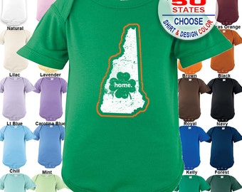 New Hampshire Home State Irish Shamrock Bodysuit / Boys / Girls / Irish / St. Patty's Day