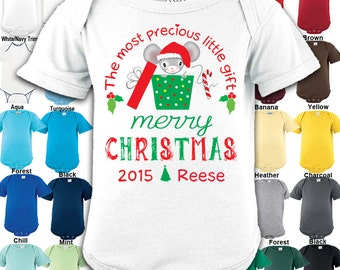Merry Christmas - The most precious little gift - Bodysuit - Boys / Girls / New Baby / Gift - Personalized with Name & Year