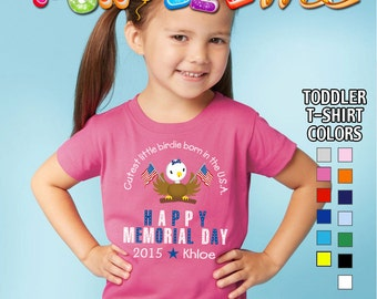 Happy Memorial Day - Cutest Little Birdie Born in the USA - T-Shirt - Girls - Toddler - Personalized with Name and Year