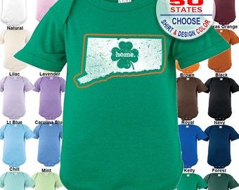 Connecticut Home State Irish Shamrock Bodysuit - Boys / Girls / Irish / St. Patty's Day