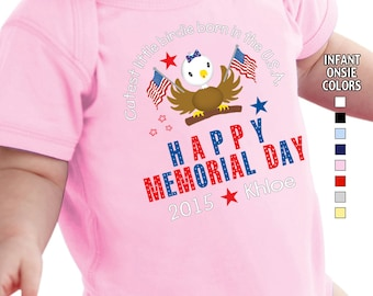 Happy Memorial Day - Cutest Little Birdie Born in the USA - Bodysuit - Girls - Personalized with Name and Year