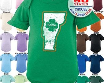 Vermont Home State Irish Shamrock Bodysuit - Boys / Girls / Irish / St. Patty's Day