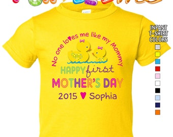 Happy First Mother's Day T-Shirt - No One Loves me Like my Mommy - Girls - infant - Personalized -  with Name & Year
