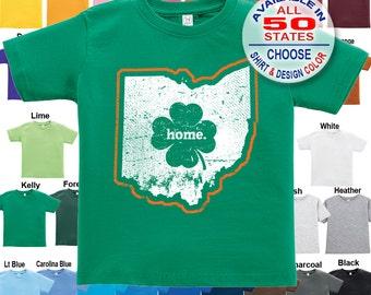 Ohio Home State Irish Shamrock T-Shirt - Boys / Girls / Infant / Toddler / Youth sizes