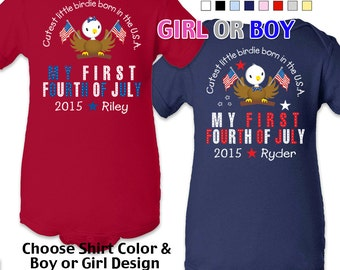My First Fourth of July - Cutest Little Birdie Born in the USA - Bodysuit - Girls - Boys -  Personalized with Name and Year