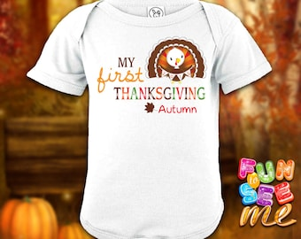 My First (1st) Thanksgiving - Personalized with Name Bodysuit / Onesie / Boys / Girls / New Baby / Shower Gift