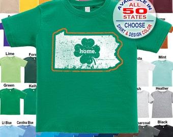 Pennsylvania Home State Irish Shamrock T-Shirt - Boys / Girls / Infant / Toddler / Youth sizes