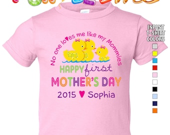 Happy First Mother's Day T-Shirt - No One Loves me Like my Mommies - Girls - infant - Personalized w/Name & Year (Gay / Lesbian / 2 Mommies)