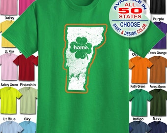 Vermont Home State Irish Shamrock  T-Shirt - Adult Unisex - We carry sizes S - 5XL in 30 Colors!