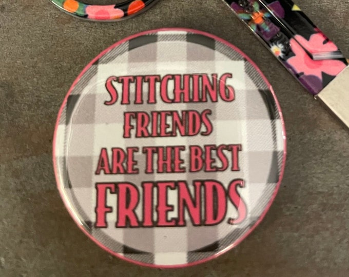 Gingham Stitching Friends are the Best Friends Needle Minder Magnet