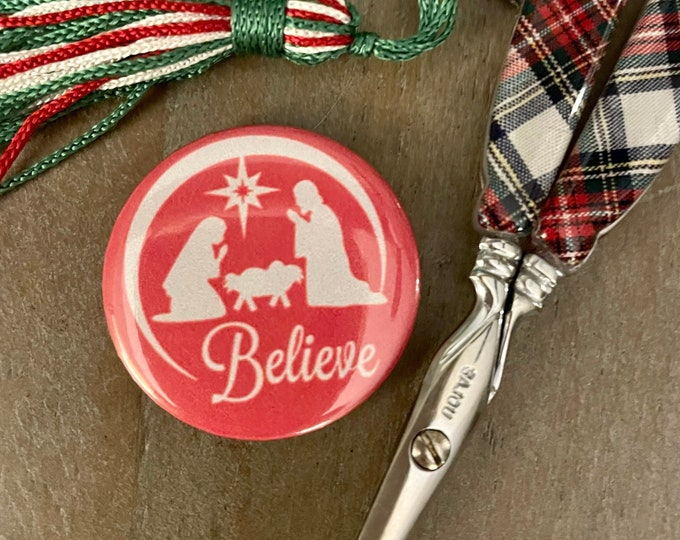Believe Nativity Needle Minder Magnet - Great gift or Stocking Stuffer