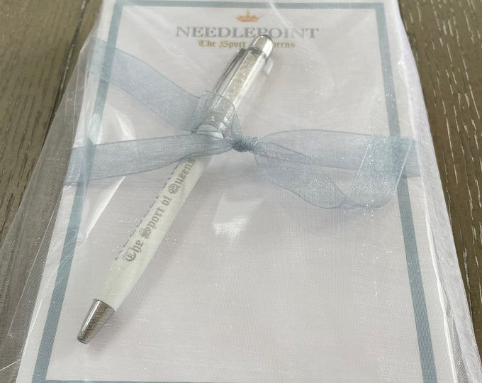 """Gift Set: Needlepoint The Sport of Queens Notepad & """"Diamond"""" Pen in Gift Bag"""