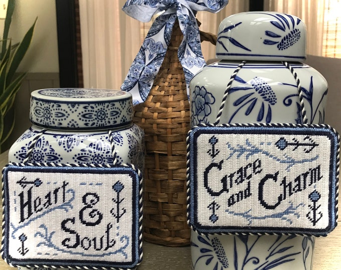 Heart and Soul, or Grace and Charm Hand Painted Needlepoint Canvas
