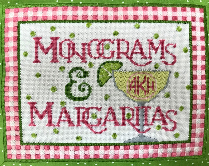 PRE-ORDER Monograms & Margaritas Hand Painted Needlepoint Canvas with Alphabet Monogram Chart