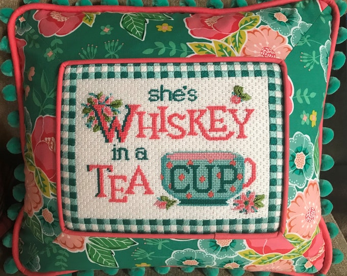 PRE-ORDER She's Whiskey in a Tea Cup Hand Painted Needlepoint Canvas