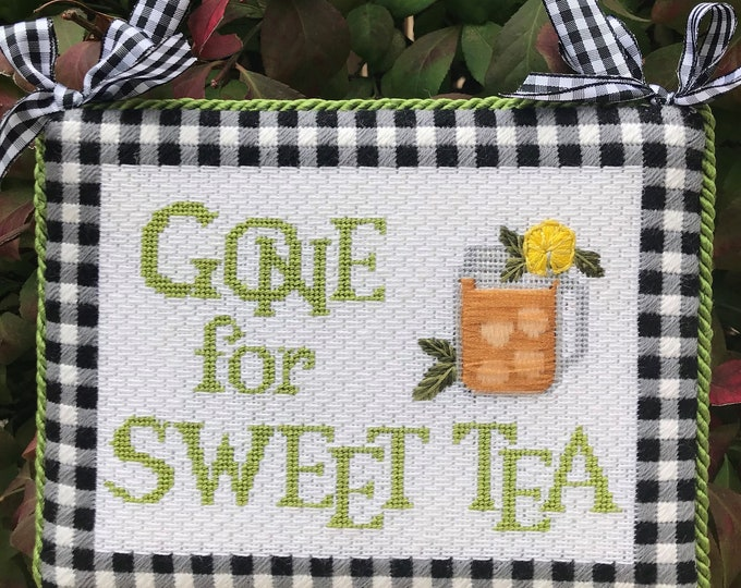 Gone for Sweet Tea Hand Painted Needlepoint Canvas