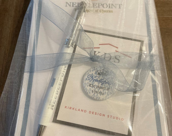 """Deluxe Gift Set: Needlepoint The Sport of Queens Notepads, """"Diamond"""" Pen & Needle Minder in Gift Bag"""