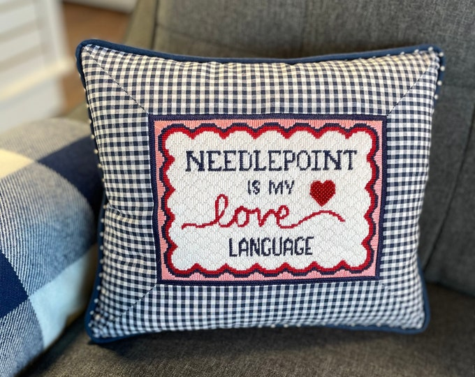 Hand Painted Needlepoint is My Love Language Canvas
