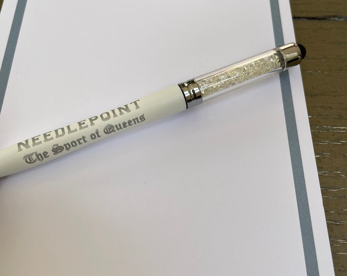 Needlepoint The Sport of Queens Crystal Pen with Stylus