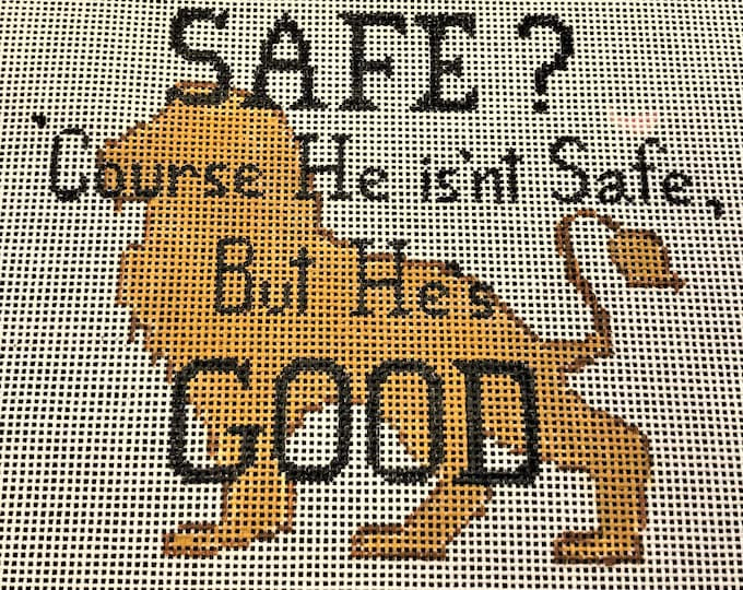 "Hand Painted Aslan Chronicles of Narnia ""Course He isn't Safe, but He's Good"" Needlepoint Canvas"